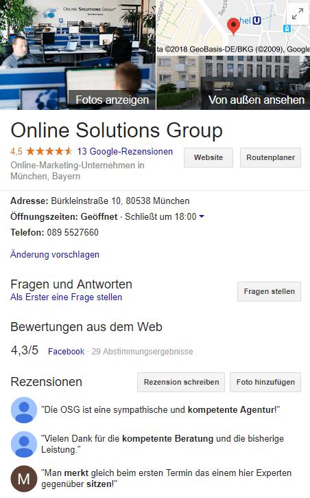 Google My Business Eintrag der OSG