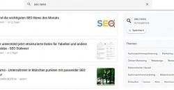 Ergebnisse bei den Google News für die Suchanfrage SEO News