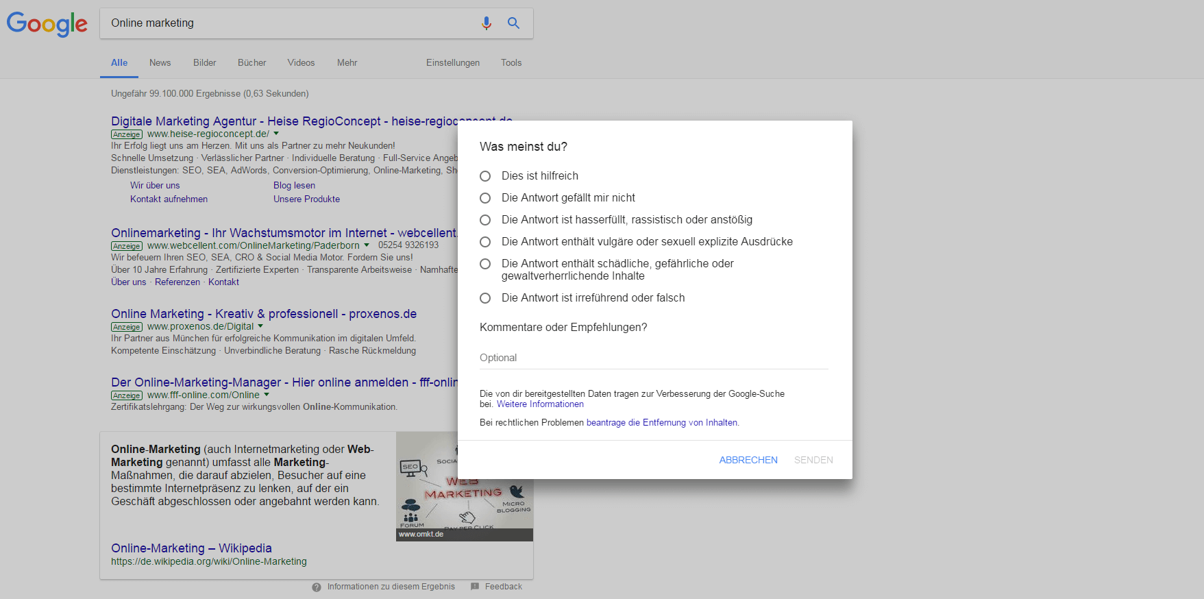 Feedback zu den Featured Snippets