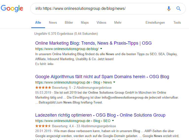 Google SERPs für info: onlinesolutionsgroup.de
