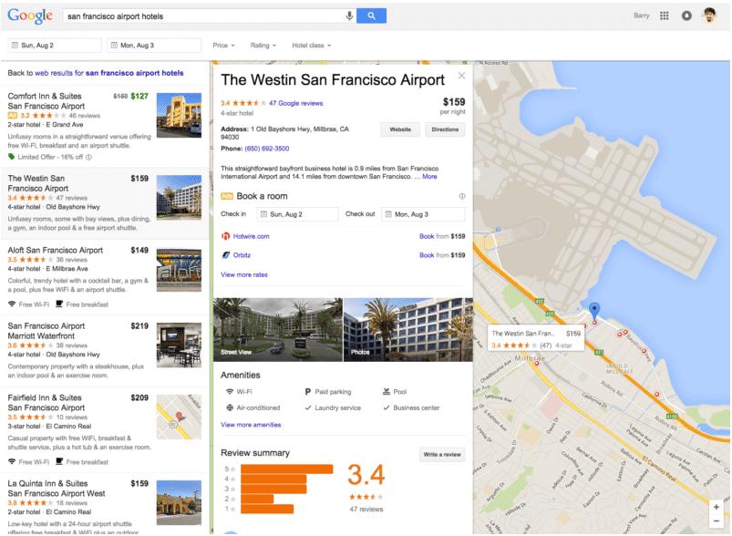 Google Screenshot Hotelsuche 2015