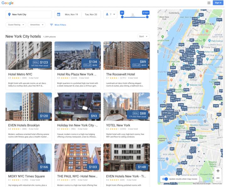 Google Screenshot Hotelsuche