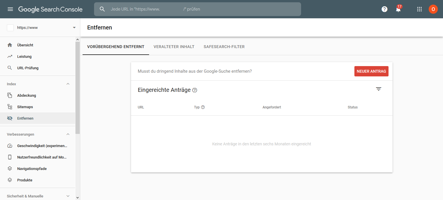 Google Search Console neue Entfernen Funktion