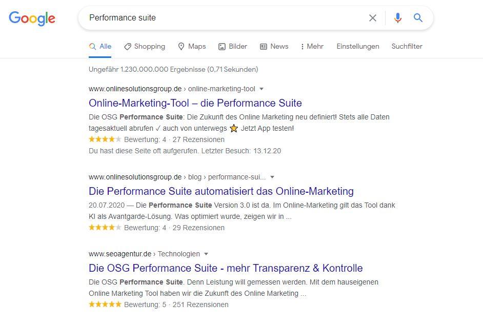 Google Suchergebnisse Performance Suite
