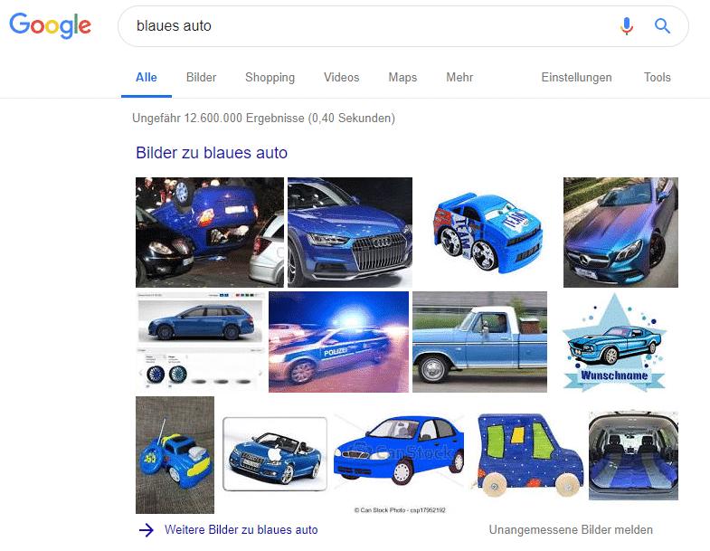 Google-Suche blaues Auto