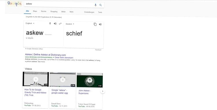 "Die Suchanfrage ""Askew"" in Google"