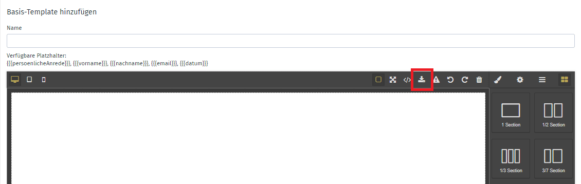 HTML Template importieren
