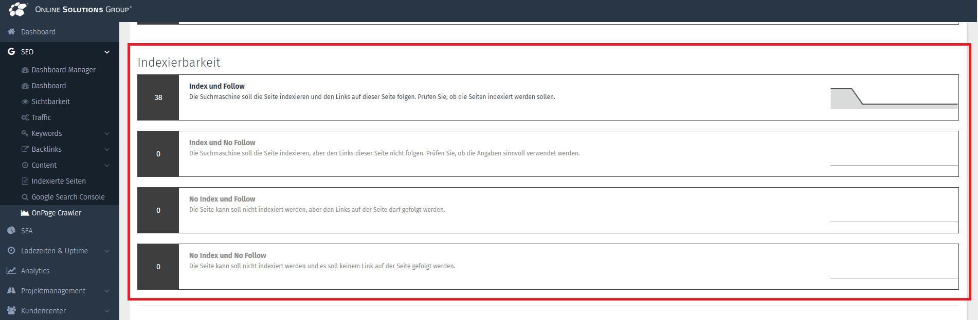 Darstellung der Indexierbarkeit im Onpage Crawler der OSG Performance Suite