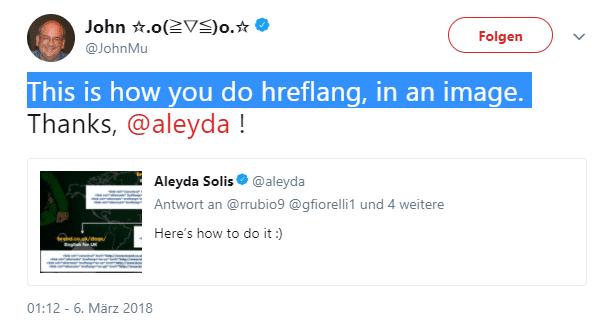 John Muellers Tweet zum hreflang-Bild