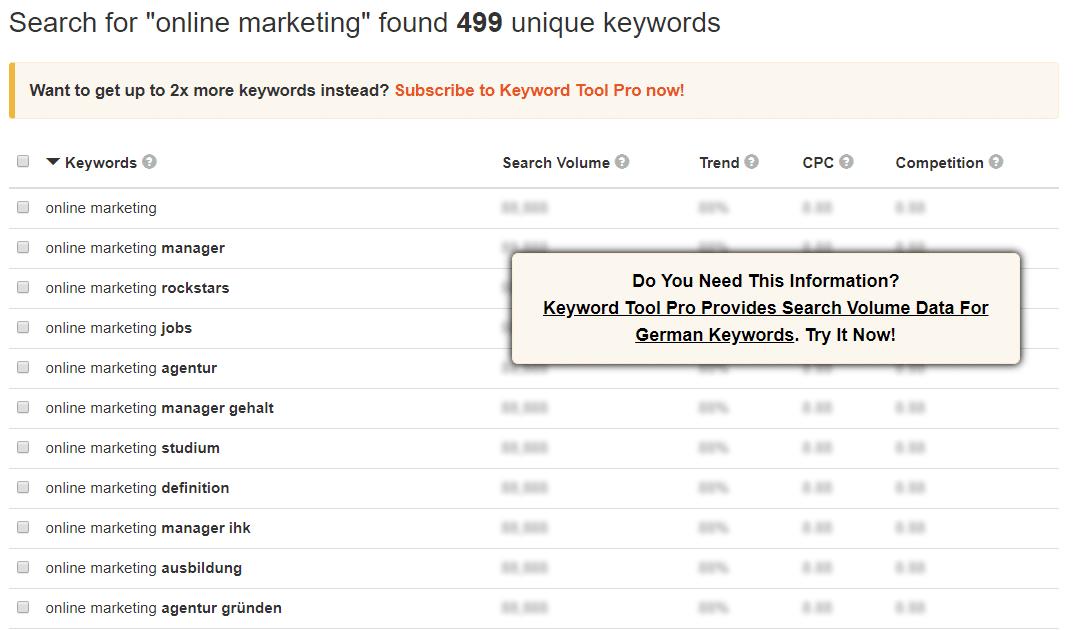 Keyword Tool kostenlos – Keywordtool.io