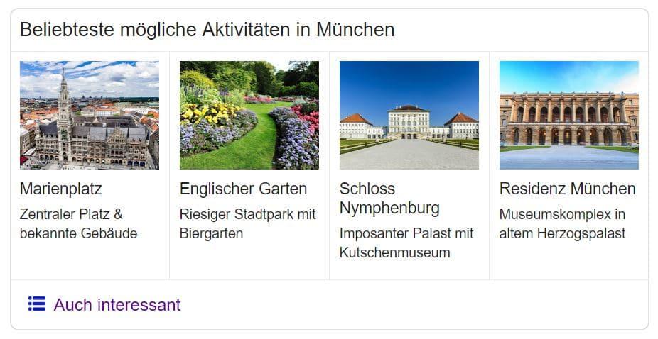 Knowledge Graph Karussell - Beispiel Sehenswürdigkeiten München