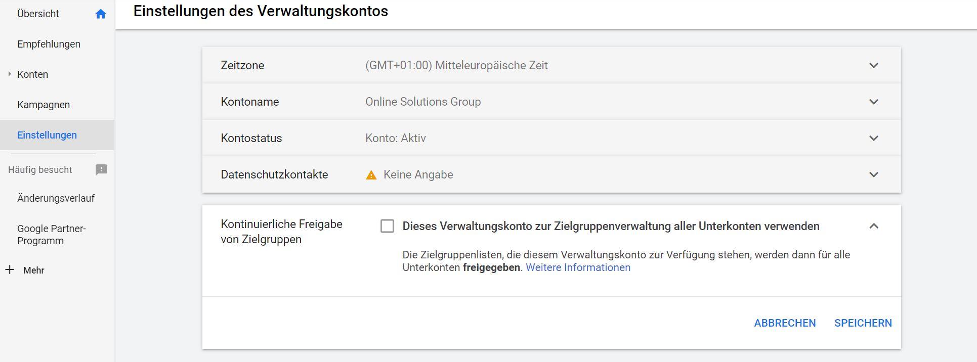 Kontinuierliche Freigabe von Zielgruppen in Google Ads
