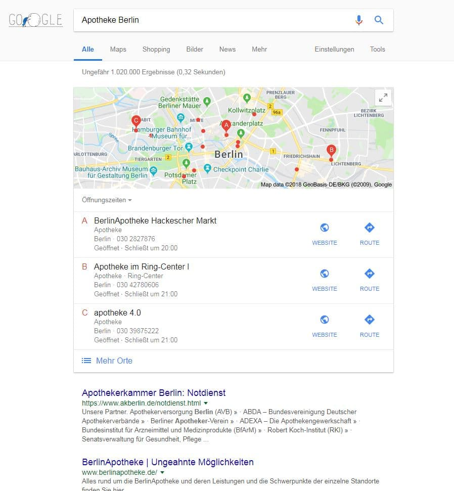 Lokal SEO: Suchanfrage Apotheke Berlin