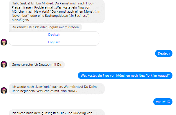 "Quelle: Chatbot ""Mildred"" von Lufthansa"