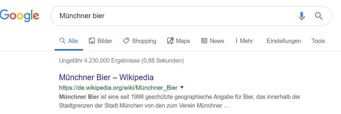 Google Suchergebnis zu Münchner Bier