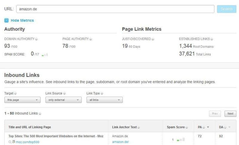 MOZ Open Site Explorer - kostenloses Backlinktool