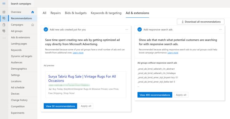 Microsoft Ad Einstellungen