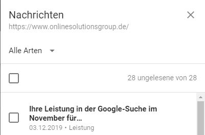 Nachrichten in Google Search Console