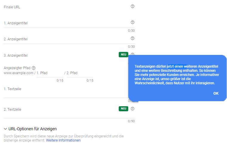 Neue Anzeigeneinstellungen bei Google Ads Anzeige