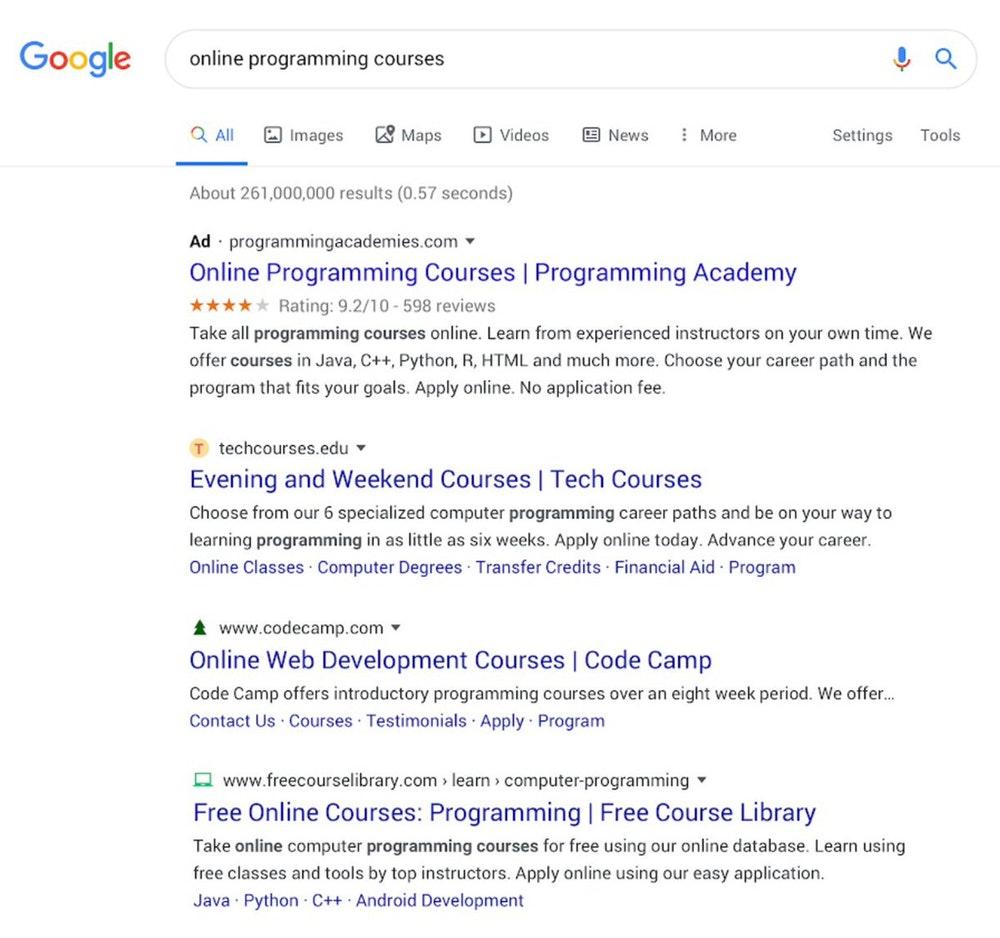 Neue Suchergebnisdartsellung von Google