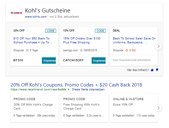 Neues Bing Update Coupons