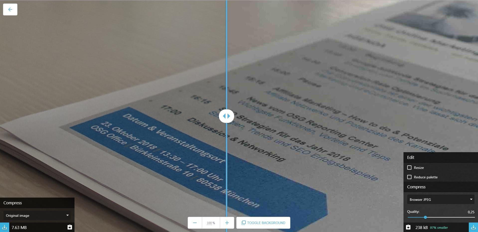 Squoosh zeigt eine direkte Vorschau des komprimierten Bildes sowie dessen finale Dateigröße