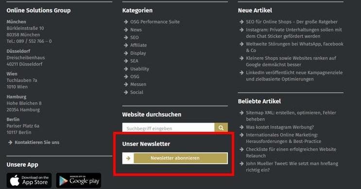 E-Mail-Marketing Tipps: Widget zum Anmelden beim Newsletter im Footer