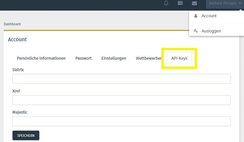Screenshot mit Anleitung, wie man API Keys in der OSG PS verwaltet