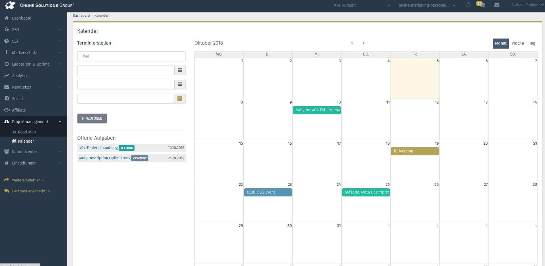 Screenshot des Kalenders mit Einträgen aus der OSG Performance Suite