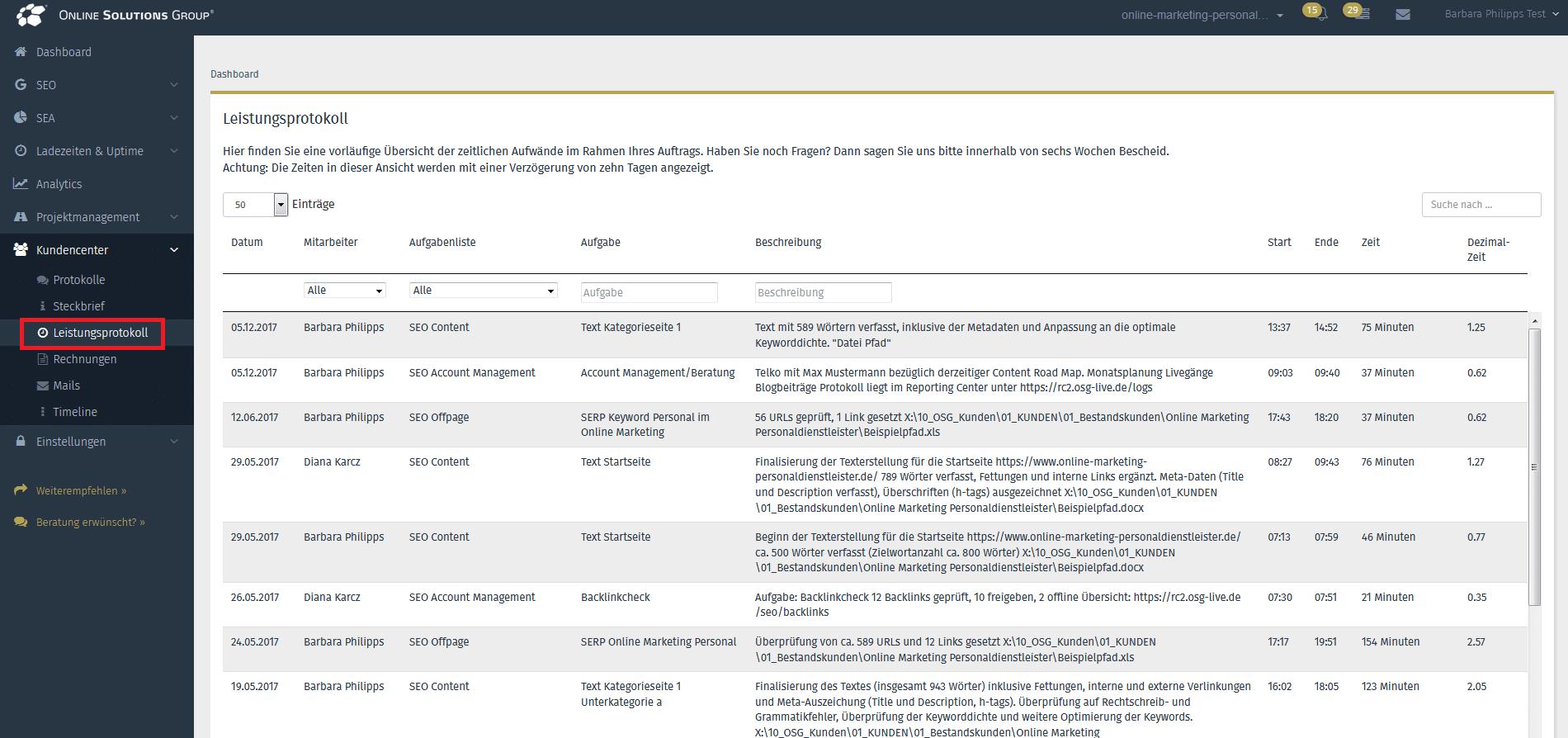 Screenshot vom Leistungsprotokoll aus der OSG Performance Suite