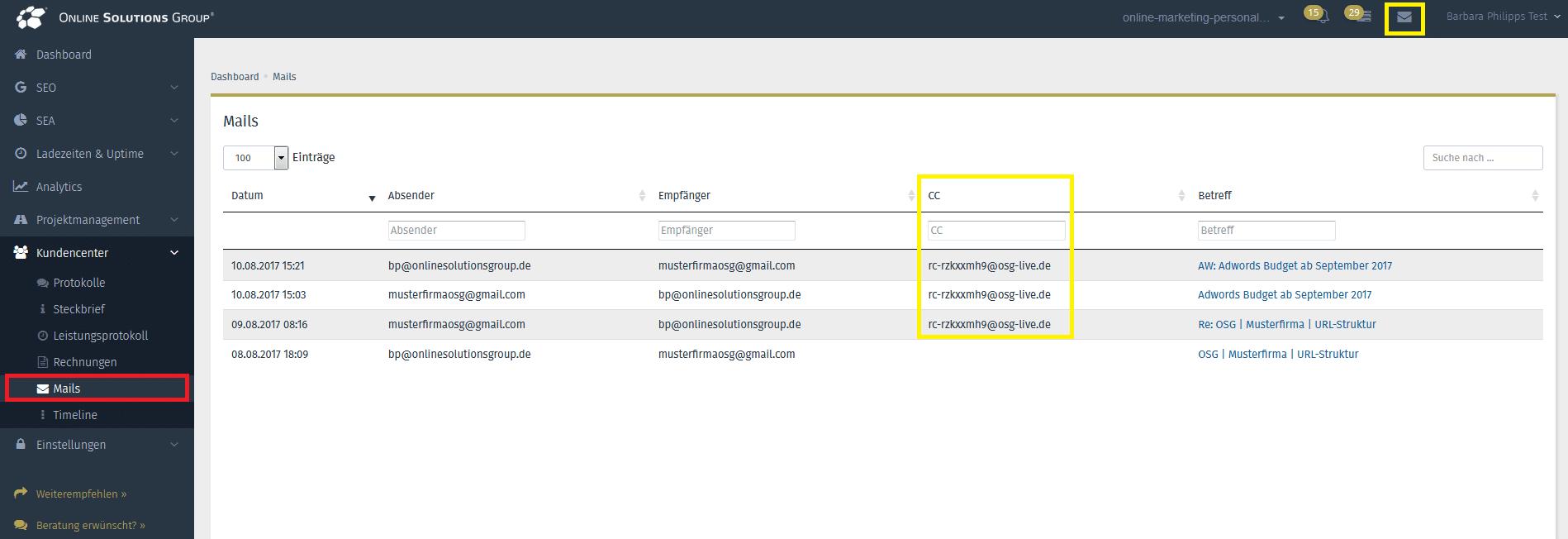 Screenshot aus der OSG PS von dem Reiter Mails im Kundencenter