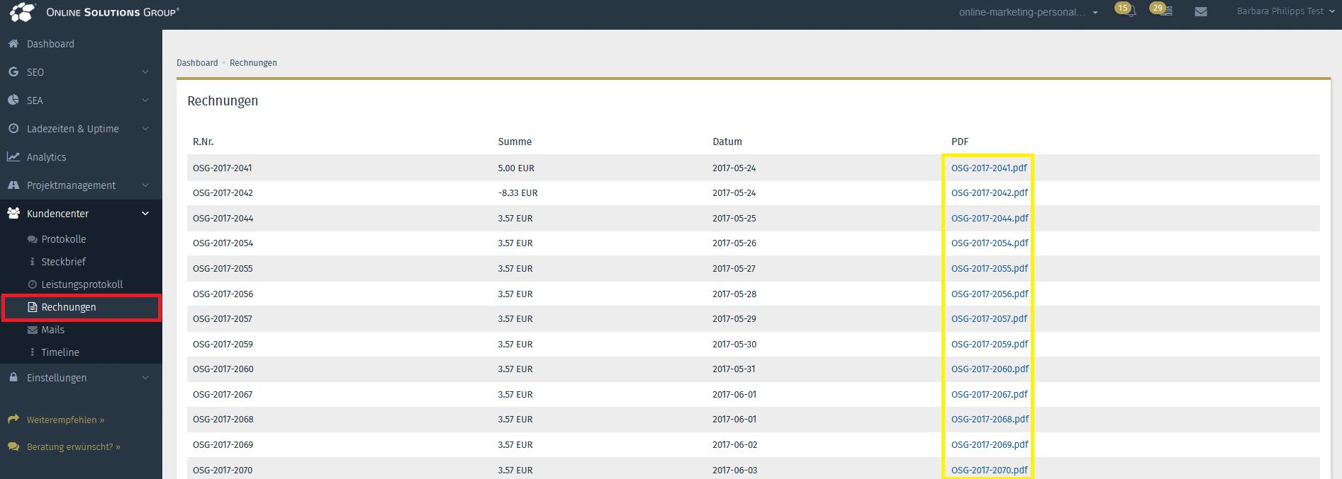 Screenshot aus der OSG Performance Suite von den Rechungen