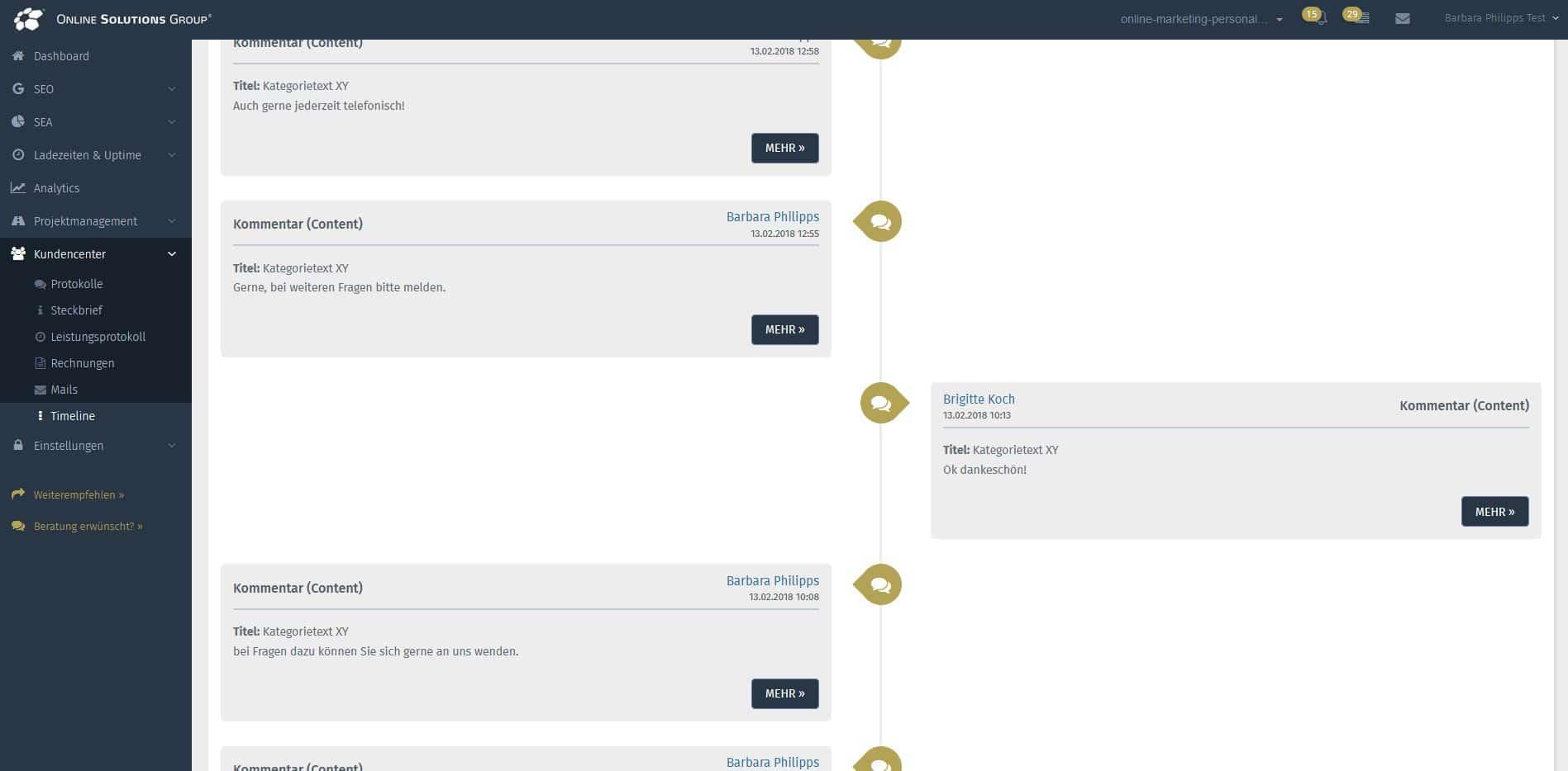 Screenshot von der Timeline im Kundencenter der OSG Performance Suite