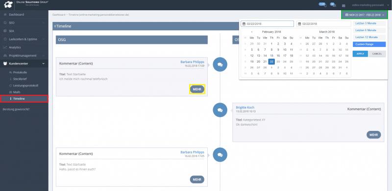 OSG Performance Suite Projektmanagement Timeline
