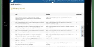 Darstellung der Ergebnisse aus dem kostenlosen OSG Backlink Check auf dem Ipad
