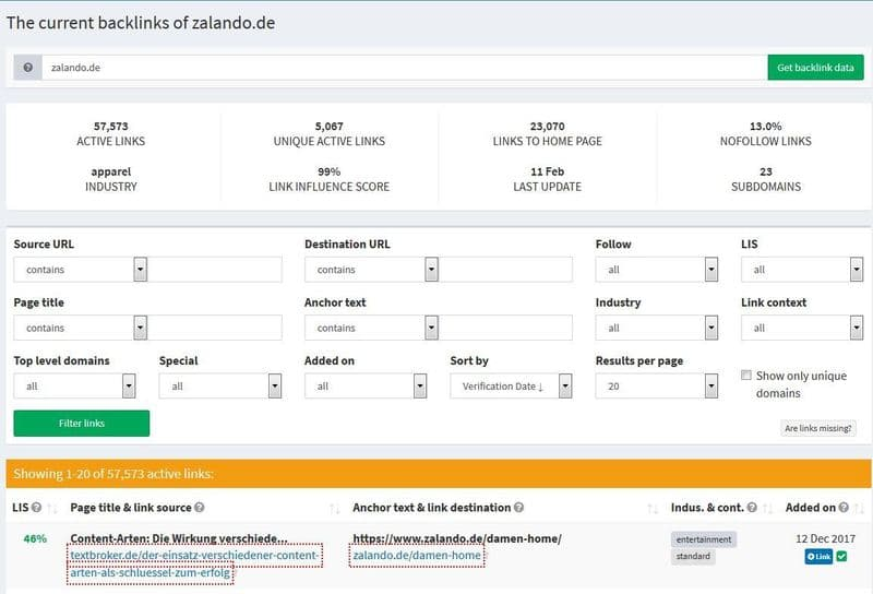Openlinkprofiler - kostenloses Backlinktool