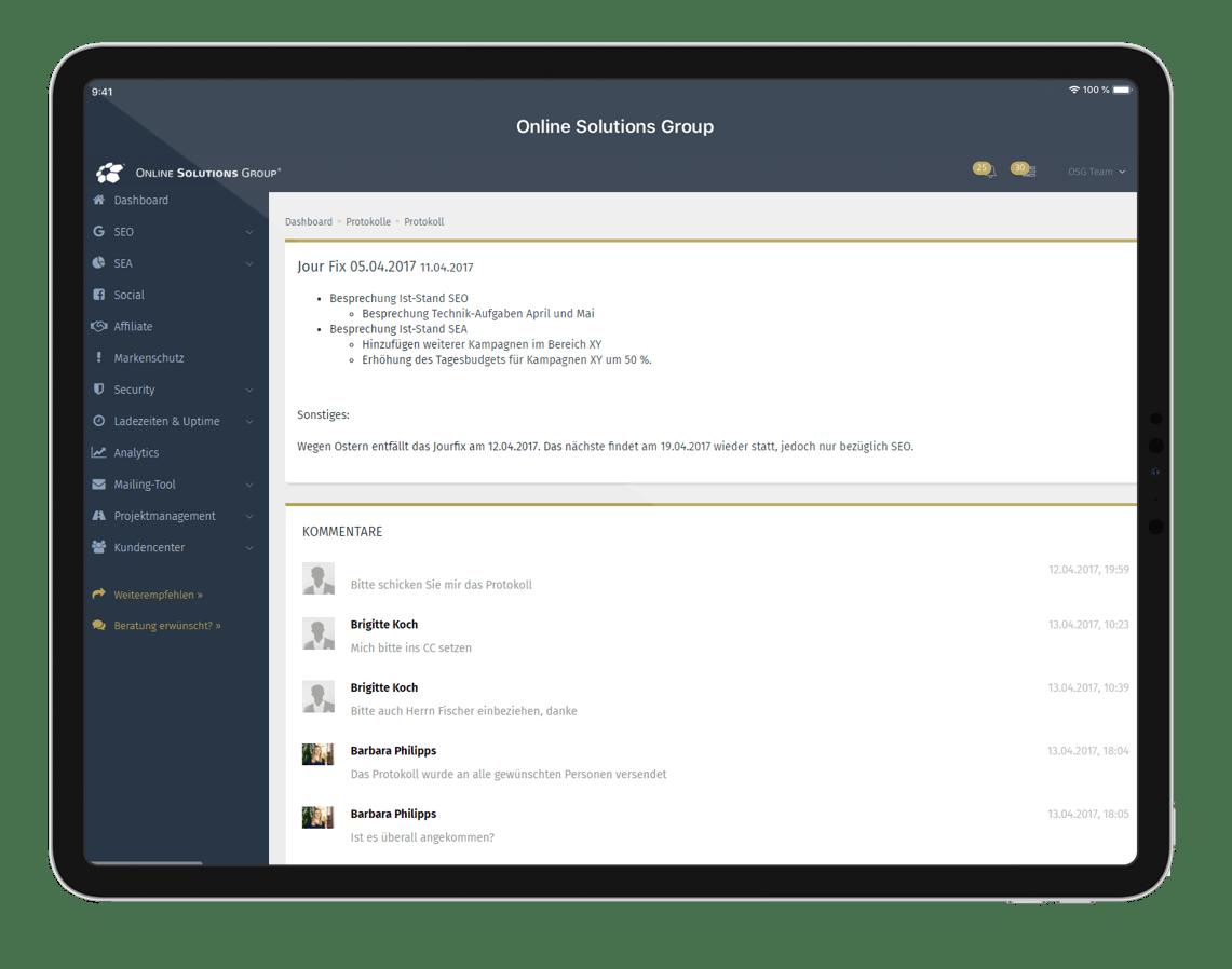 SEO Reporting lebt von Kommunikation. Eine Kommentarfunktion, wie im OSG Performance Suite, ermöglicht den schnellen Austausch von Informationen.