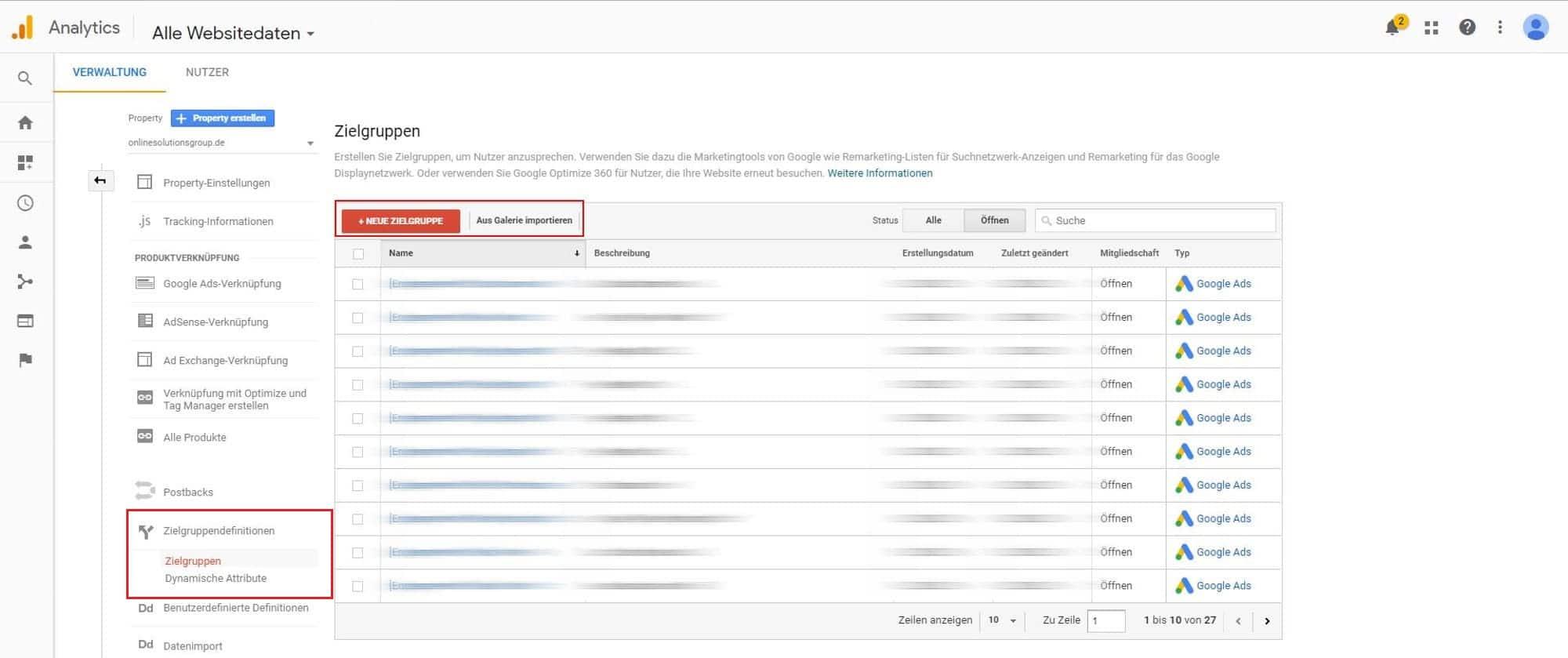 In Google Analytics können eigenen Remarketing Listen für RLSA Kampagnen erstellt werden. Außerdem ist es möglich vorgefertigte Listen zu importieren