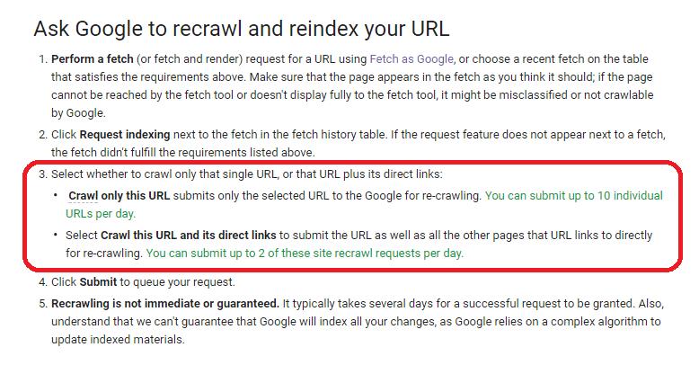 Screenshot: Anleitung des URL-Recrawling