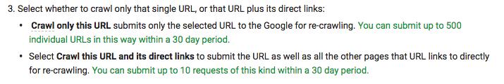 Screenshot Auszug aus Webmaster Guidelines