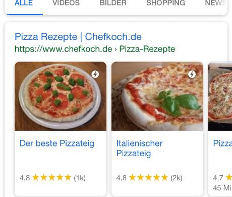 Rich Cards am Beispiel Google Suche Pizza ezept