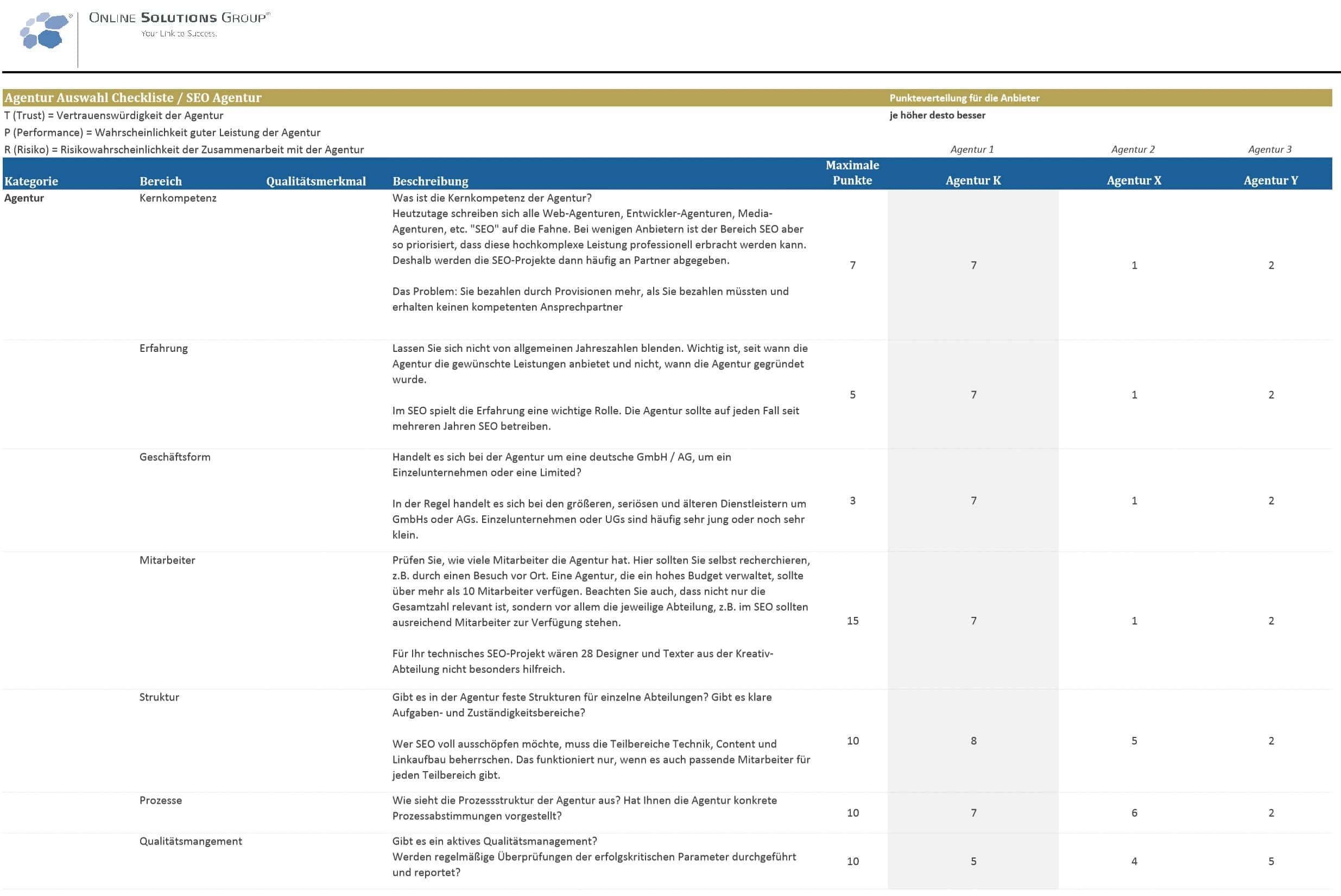 SEO-Agentur-Auswahl-Excel
