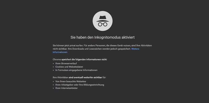 SEO Konkurrenzanalyse Inkognito-Modus Screenshot