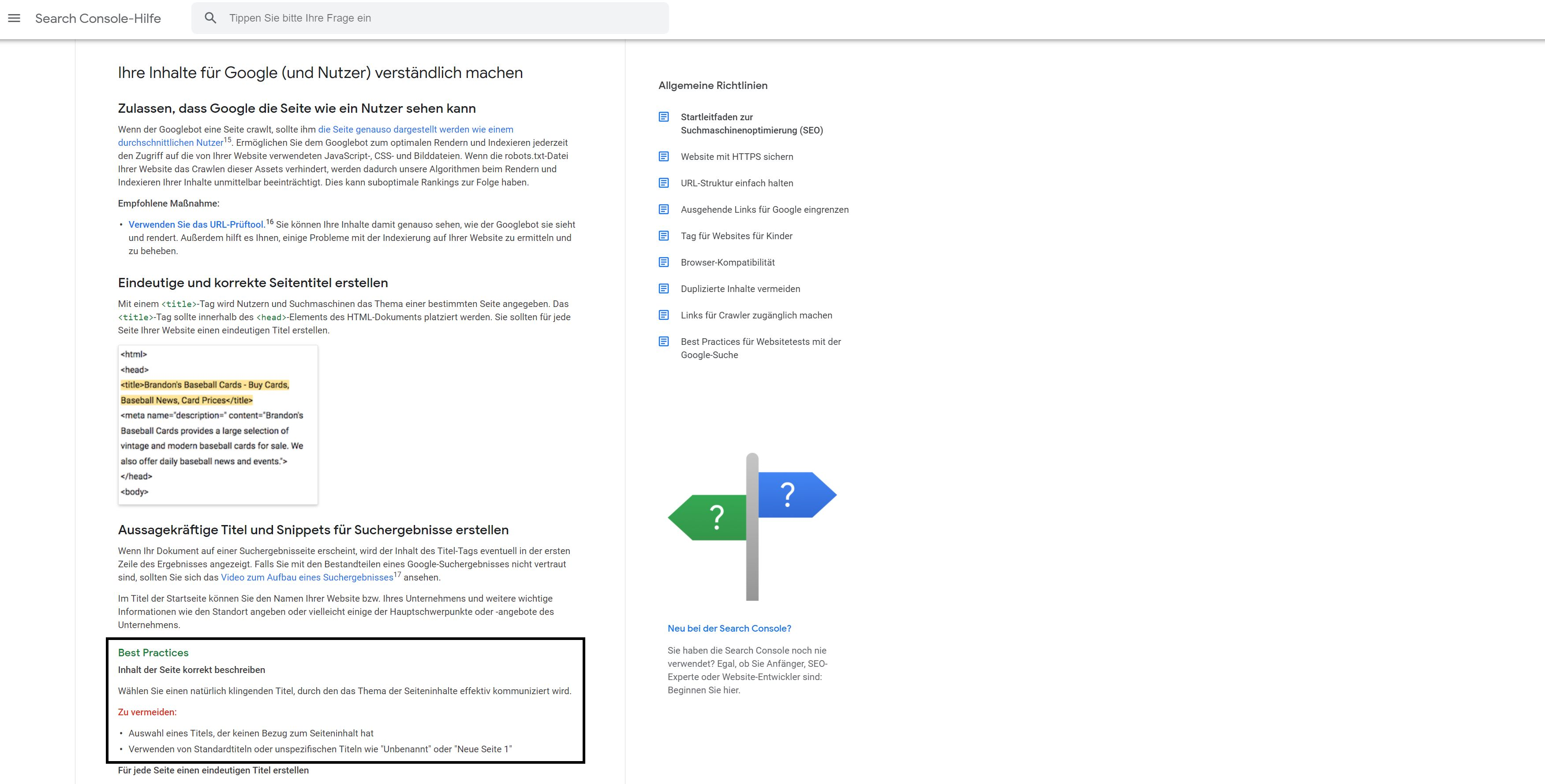 Richtlinien von Google zu SEO Tags