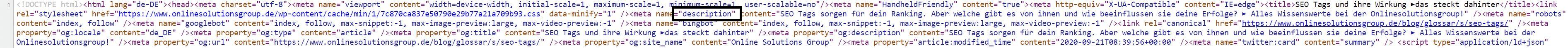 SEO Tags: Meta Description im Quellcode