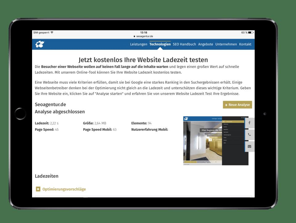 Ladezeiten mit Website Speed Test