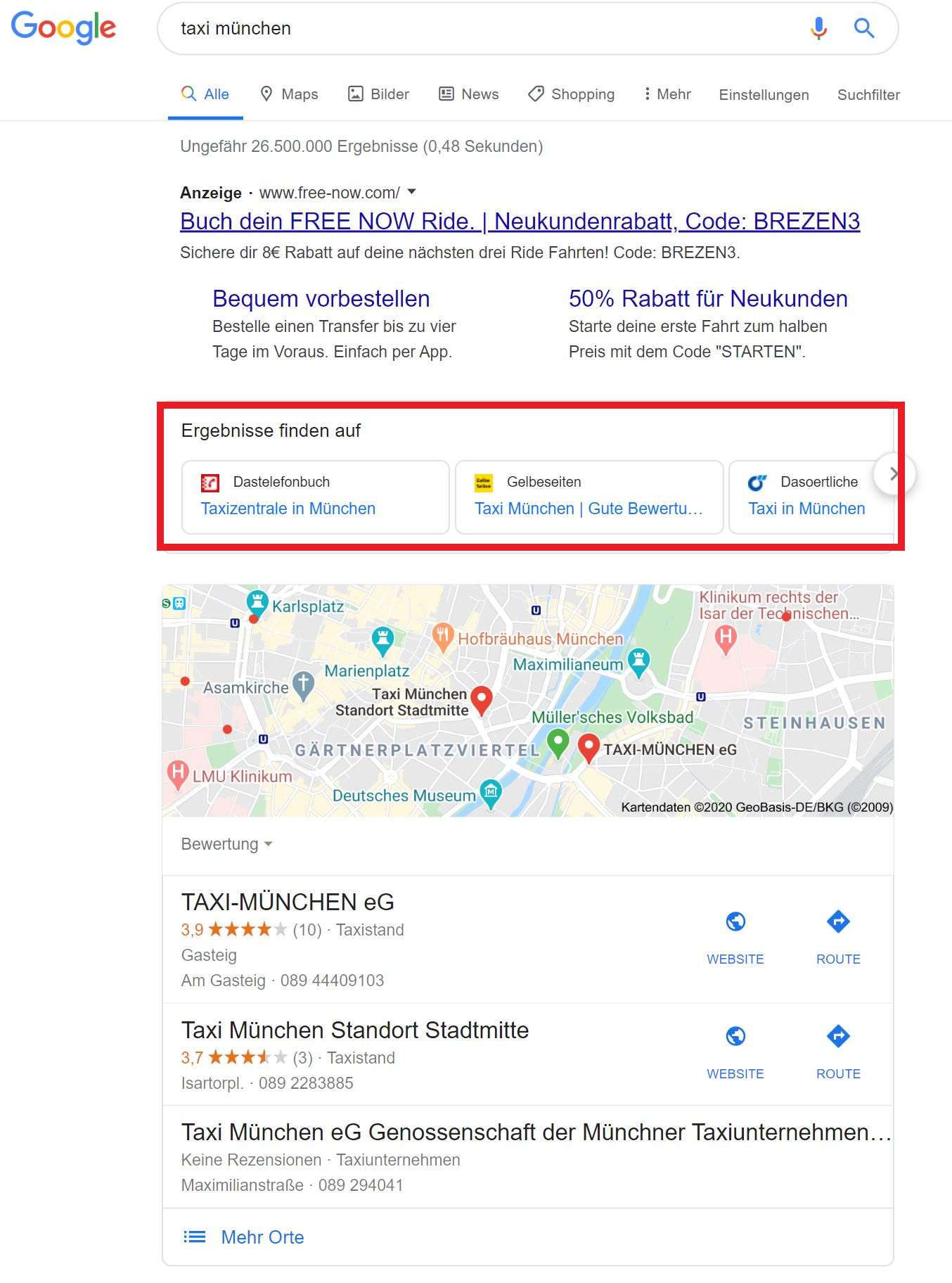Darstellung von SERPs in Google