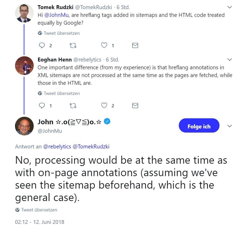 Screenshoot John Mueller hreflang sitemaps