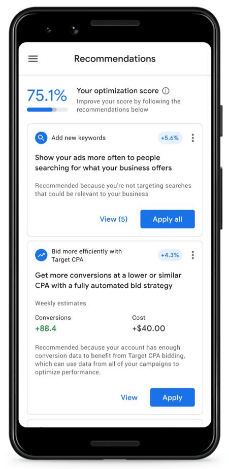 Screenshot Google Ads App