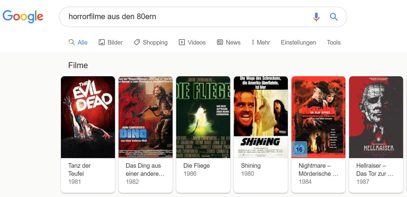 Screenshot Google Suche Filme